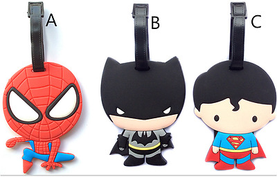 Q Version Spiderman Batman Travel Luggage Suitcase School Bag Name Tag Holder