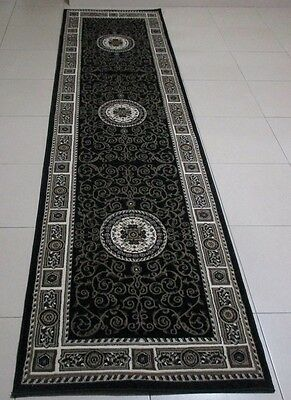 New Black Traditional Persian Design Heatset Floor Hallway Runner Rug 80X300Cm