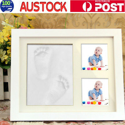 DIY Baby Photo Frame Imprint Soft Clay Cute Baby Foot Hand Print Cast Set White
