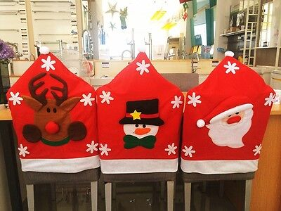 NEW Santa Claus Christmas Dinner Banquet Chair Back Cover Xmas Party Home Decor
