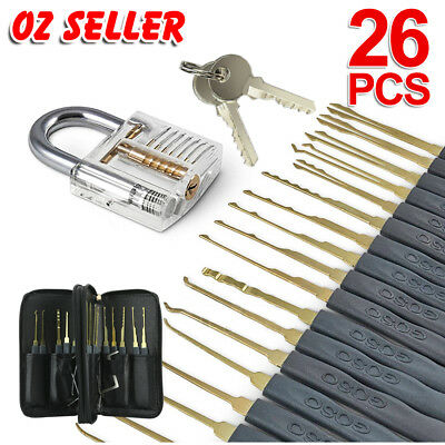 26pcs Practice Lock Pick Tool Kit Padlock Locksmith Lockpick Unlocking Tool Set