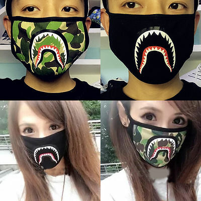 Fashion Boys and Girls Bape Shark Black Face Mask Camouflage Mouth-muffle BAPE
