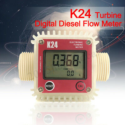 K24 LCD Turbine Digital Diesel Fuel Flow Meter for Chemicals Water Sea Adjust