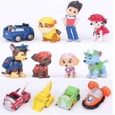 12 IN 1 PAW Patrol Puppy Kids Mini Figures Toys Play Set Gift Ryder 6 Dogs Cars