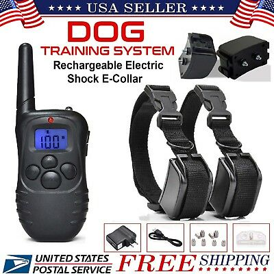 Pet Dog Collar Electric Training Rechargeable LCD 100LV Shock (Two Collars)