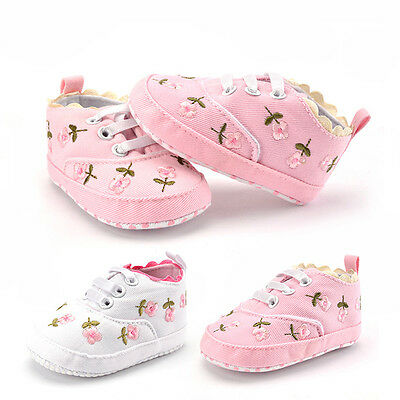 Toddler Infant Baby Girls Cute Floral Shoes Crib Shoes Size Newborn 0-18 Months