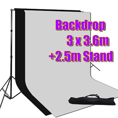 3x3.6m Black White Photography Backdrop Photo Stand Muslin Background Support AU