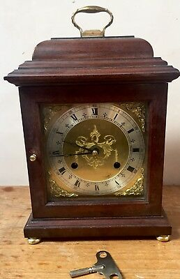 "British Mahogany Case Striking Mantle /Bracket Clock  GW0 11""H 7""W 5""D"