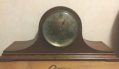 "Junghans German Oak Napoleon Westminster Chimes Mantle GWO Clock 9.5""H"