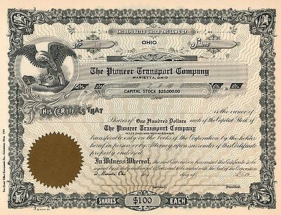 Rare - The Pioneer Transportation Company - Unissued Stock Certificate