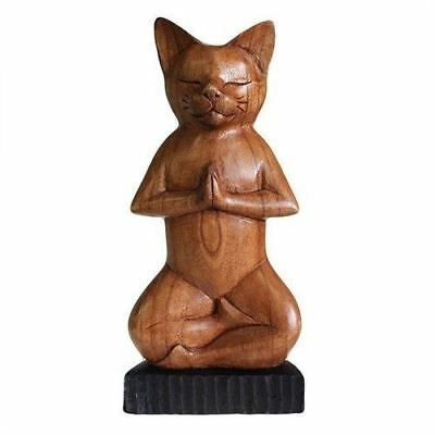 Hand Carved Yoga Cats - Lotus
