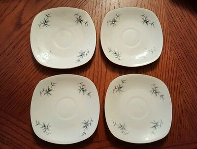 """Mitterteich Bavaria Germany China Square  SAUCERS set of 4 SMALL 4.25"""""""