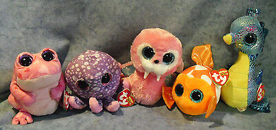 W-F-L TY Beanie Boos Glubschi Seal Frog Dolphin Octopus Selection Stuffed toy
