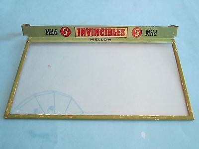 Antique INVINCIBLES Cigar Box Glass Counter Top Advertising Lid, early 1900s