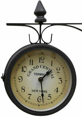 Double Sided Station Garden Clock for Outdoor or Indoor Use.