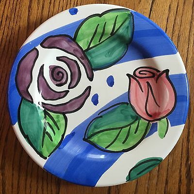 "Handpainted Pottery Plate Made in Italy, Floral Colorful, 9"" in diameter"