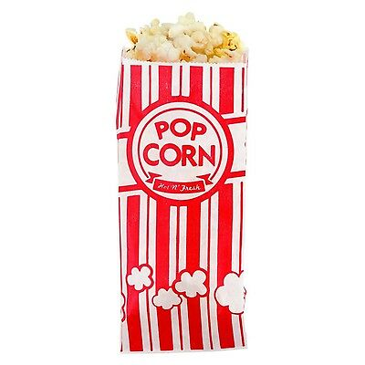 Carnival King Paper Popcorn Bags, 1 oz, Red White, 100 Piece