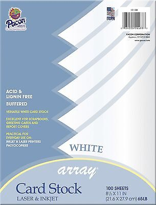 Pacon Card Stock, 8 1/2-inches by 11-inches, White, 100 Sheets (101188)