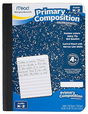 Mead Composition Book, Primary, Grades K-2, 100 Wide-Ruled Sheets, 9.75 x 7.5 In