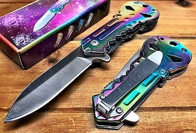 Punisher Spring Assisted Tactical Pocket Knife Alum Handle Rainbow