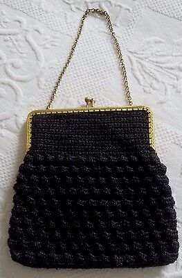 Sac minaudière rétro crochet noir Antique French Bag