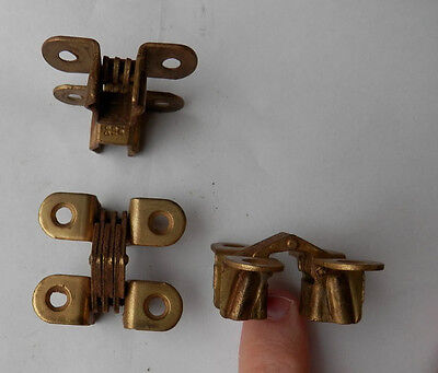 "vintage invisible hinges nos 1 1/4"" X 3/8"" soss style brass plated stamped style"