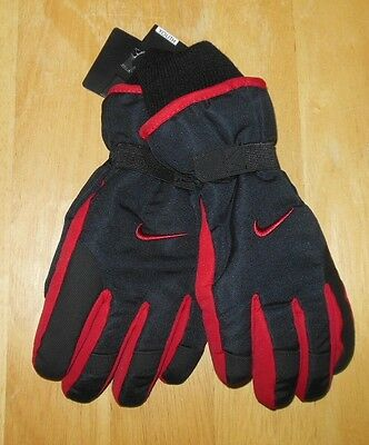 Nike Black/Red Ski Gloves 3M Thinsulate Insulation Boys Size Youth 8/20 New
