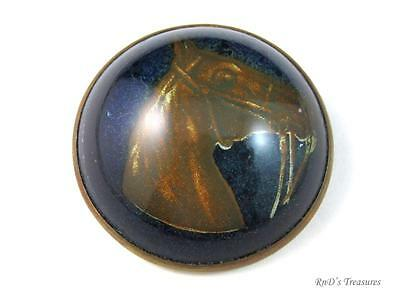 Vintage Blue Glass Domed Horse Head Bridle Rosette Brooch Pin 1 1/2""