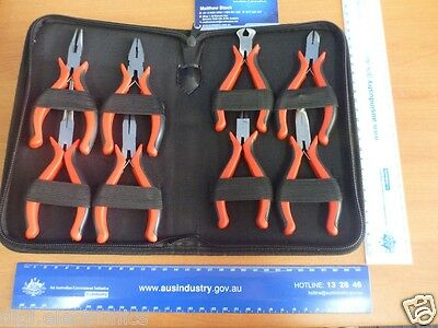 Precision Mini Pliers Multi-Tip Set of 8; Ergonomic Handles; Zip Nylon Tool Case