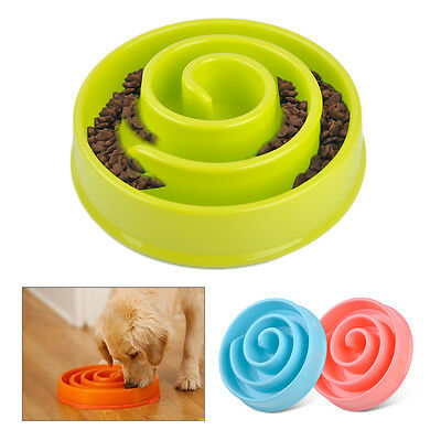 Anti Gulping Bowl Feeder Slow Eating Food Dish Plastic Healthy for Pet Dog Cat