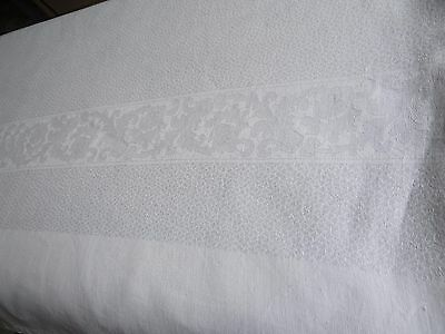 """Antique french Pure Linen Damask Tablecloth 216"""" x 0.81  - 18 napkins"""