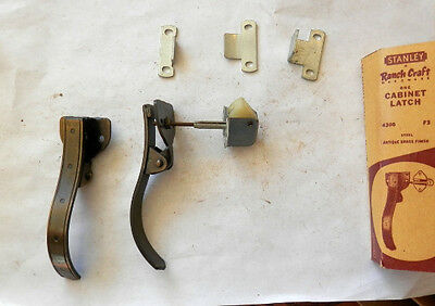 "One (1) vintage nos stanley ""Ranch Craft"" cabinet latch antique brass"