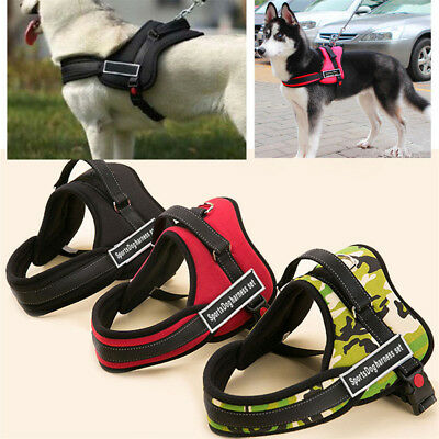 UK Adjustable Soft Padded Non Pull Pet Dog Harness Chest Vest Walking S-XL Nylon