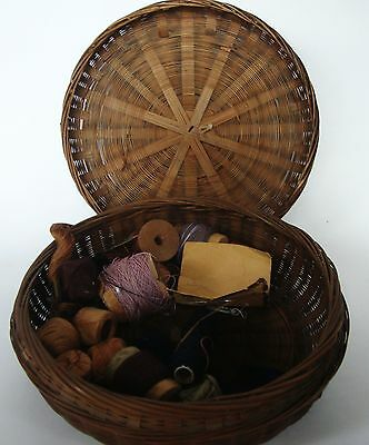 Sewing basket brown wicker with lid round Victorian antique vintage