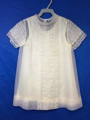 Antique Baby / Doll Christening Gown Baptism Dress Eyelet Embroidered 1900's