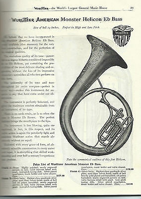 1916 Wurlitzer Musical Instrument Catalog on CD 196 pages Tubas Trumpets
