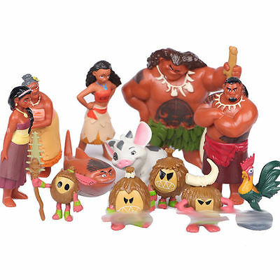 12 pcs Moana Action Figures Doll Kid Children Figurines Toy Cake Topper Decor