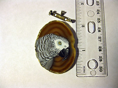 african grey congo parrot brooch/pendant on agate