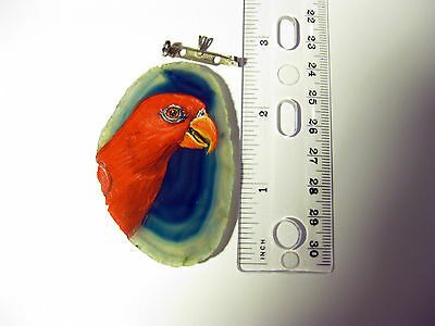 chattering lory parrot brooch/pendant on agate