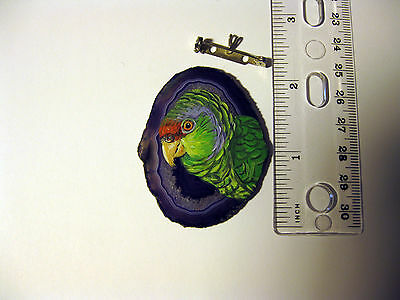 lilac crowned amazon parrot brooch/pendant on agate
