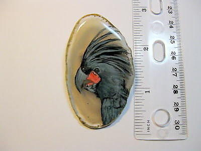 palm cockatoo parrot brooch/pendant on agate
