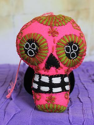 # 2 Felt Sugar Skull Hand Embroidered Day of the Dead, Chiapas Mexico Folk Art