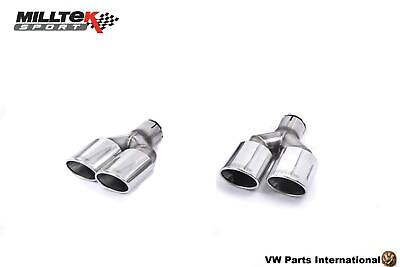 VW Golf MK7 GTI MILLTEK Sport Polished Pair Twin Oval Exhaust Tips Assembly 2x