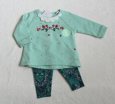 ***BNWT Next baby girl Green Floral sweat tunic and leggings set 3-6 months***