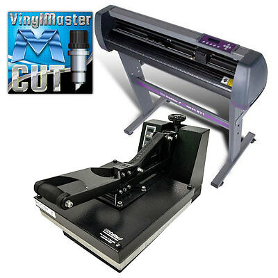 "COMBO: 28"" Vinyl Cutter + 15""x15"" Digital Heat Press Machine, Make Tshirts, Sign"