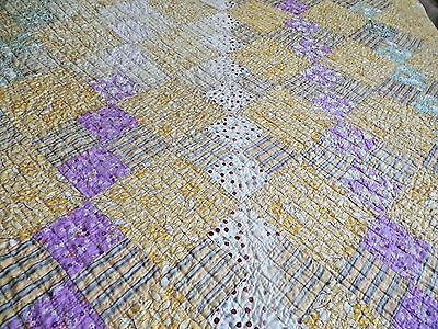 Antique 1940S Quilt~Yellow~4 Patch~Ohio~Nice~Nr
