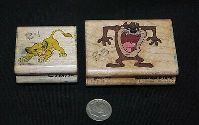 Lot of 2 rubber stamps, Tasmanian Devil-Taz, Simba of Lion King, Looney Tunes