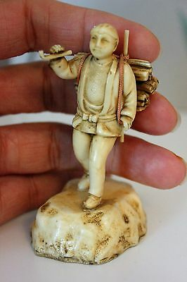 1920's Japanese Celluloid Diorama figurine Netsuke Man with Pipe Bamboo OKIMONO