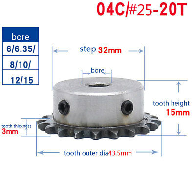 "1/4"" 20T Rotary Chain Drive Sprocket 04C20T Pitch 6.35mm Bore 6/6.35/8/10/12mm"