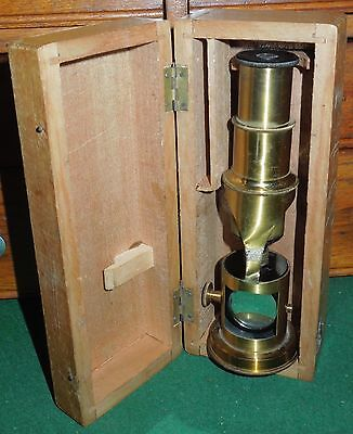 Antique French 19c Brass Lacquer Single Tube Drum Microscope & Wooden Travel Box